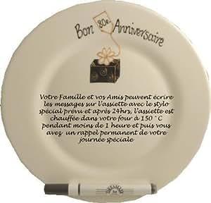 Bon Anniversaire (80e) Assiette Pour Les Signatures Box(Rd)