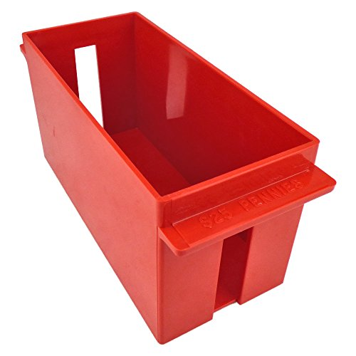 (Extra-Capacity Rolled Coin Plastic Storage Tray, Pennies, Red (2 Trays))
