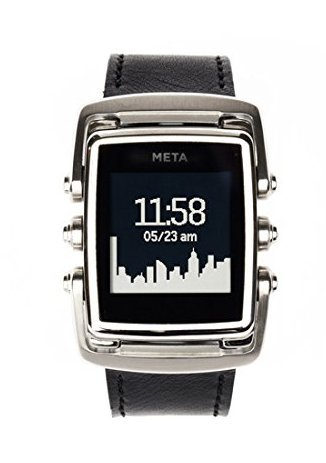 Meta Watch MW4001 Smart Watch Ltd Stainless Steel Case Black Leather Strap - OUT OF BUSINESS