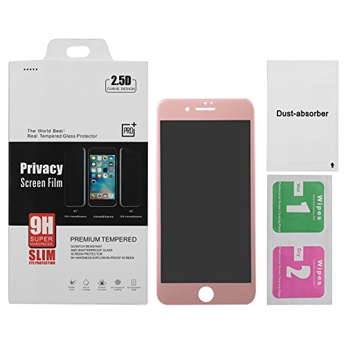 BuySShow Curved iPhone 7 Plus Privacy Screen Protector 5.5 inches Privacy Screen iPhone 7 Plus privacy tempered glass Anti Spy 0.3mm 9H Hardness Full Screen (Rose gold)