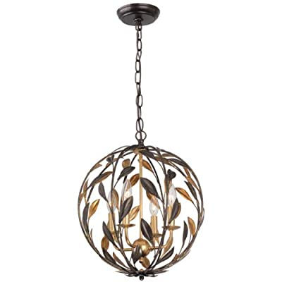 Broche 4 Light English Bronze & Antique Gold Sphere Mini Chandelier - Four Light Chandeliers from the Broche collection Height: 18.75 inches Width: 16.00 inches Number of Lights: 4, Bulb(s) Included: No - kitchen-dining-room-decor, kitchen-dining-room, chandeliers-lighting - 415t7vH7FiL. SS400  -