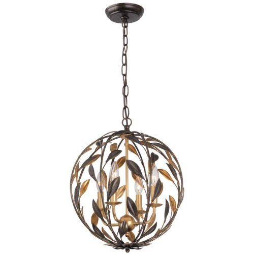 - Crystorama 504-EB-GA Leaf, Flower, Fruit Four Light Chandeliers from Broche collection in Bronze/Darkfinish,