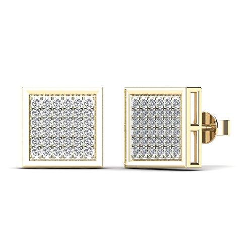 JewelAngel Women's 10K Yellow Gold Diamond 1/5ct TDW Square Stud Earrings (H-I, (Tdw Diamond Square Earrings)