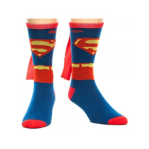 Super Hero DC Comics Superman Suit Up With Cape Jrs. Crew Socks By Superheroes