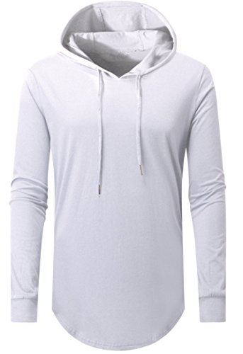 Aiyino Mens Hipster Hip Hop Long Sleeve Longline Pullover Hoodies Shirts (US 2XL, 02 White) ()