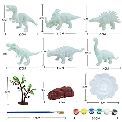 Wenjuan Set of 55Pcs 3D Painting Dinosaurs Figurines for Kids DIY Graffiti Toys -Decorate Your Own Dinosaur Arts Crafts (6 Dinosaur Model,36 Pigment,6 Paint Pen): Toys & Games