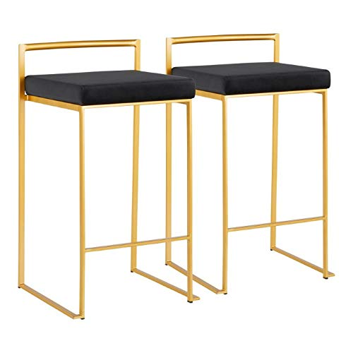 LumiSource Glam Stacker Counter Stool - Set of 2