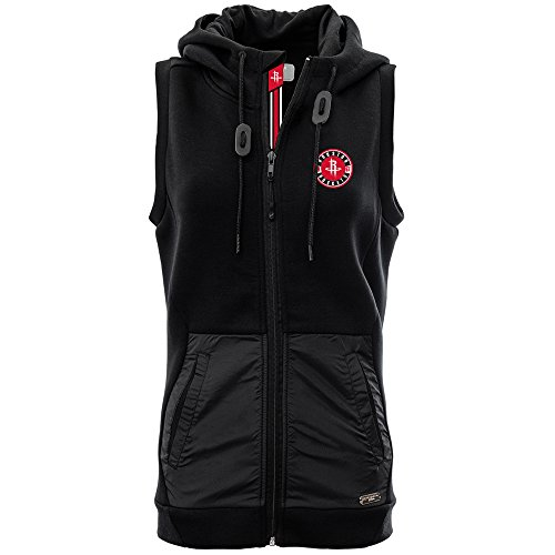 Levelwear LEY9R NBA Houston Rockets Adult Women Iris Banner Stripe Hooded Vest, Medium, Black