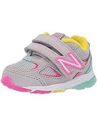 Kid's 888 V2 Hook and Loop Running Shoe, Grey/Rainbow, 9 M US Toddler