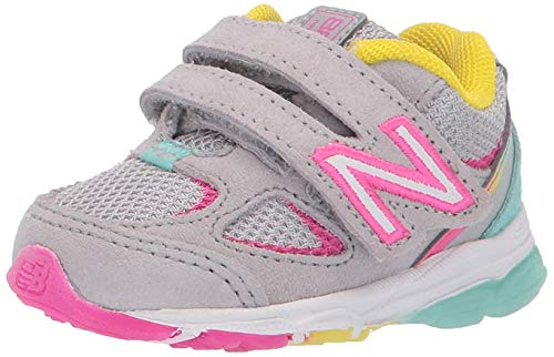 New Balance Girls' 888v2 Hook and Loop Running Shoe, Grey/Rainbow, 6 M US Toddler