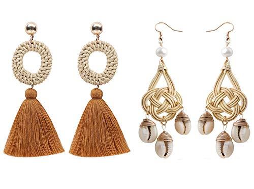 (Handmade Shell Rattan Earrings For women Boho Weave Straw Lightweight Statement Drop Dangle Earrings Ocean Sea Style (02 2PCS))