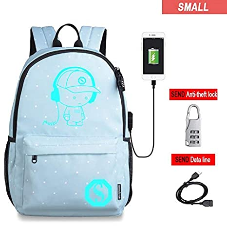 7260fdb6c3 Amazon.com  2018 School Bags Anti-Theft USB Charging Men Luminous ...