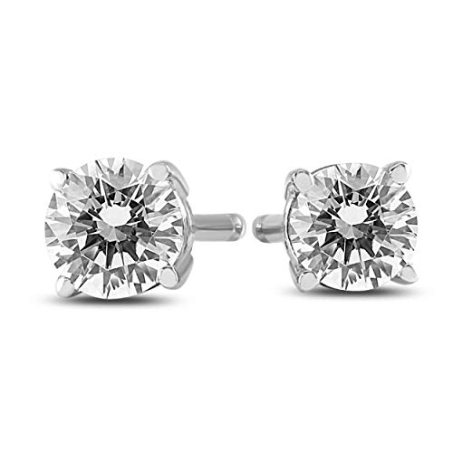 1/4 CT.TW. Lab Grown Diamond Stud Earrings in Platinum Plated .925 Sterling Silver (0.25 CTTW, I-J, SI Clarity)