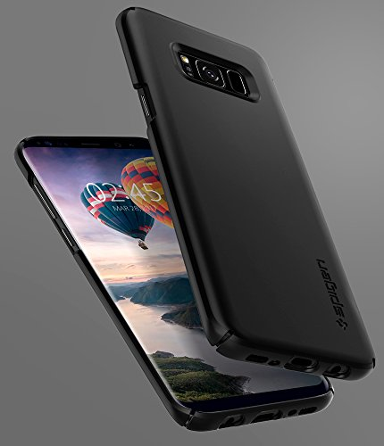 Spigen Thin Fit Galaxy S8 Case with SF Coated Non Slip Matte Surface for Excellent Grip and QNMP Compatible for Samsung Galaxy S8 (2017)