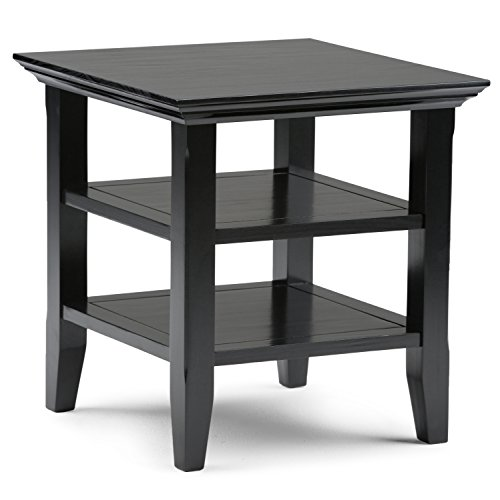 Simpli Home Acadian End Table, Black (Black Side Tables For Living Room)