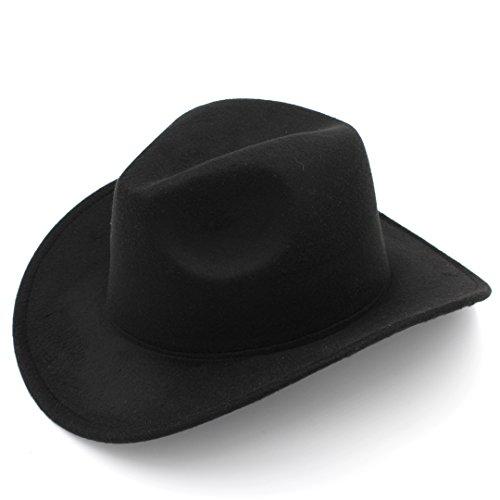 Elee Women Men Felt Cowboy Hat Wool Blend Western Cowgirl Cap (Black)