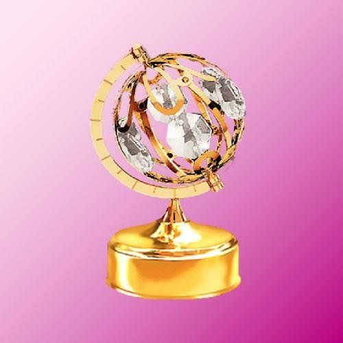 24K Gold Plated Spinning Globe Music Box.... With Clear Austrian Crystals (Mascot Musical Globe)