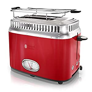 Russell Hobbs 2-Slice Retro Style Toaster, Red & Stainless Steel, TR9150RDR 3