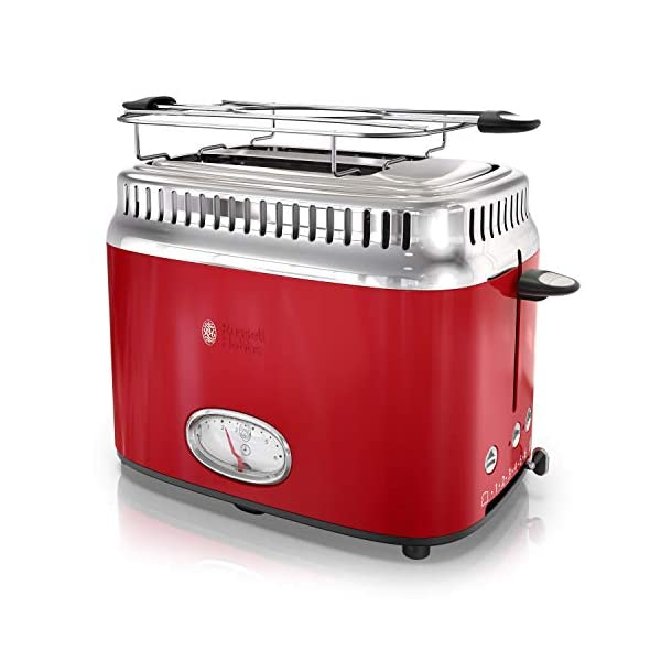 Russell Hobbs 2-Slice Retro Style Toaster, Red & Stainless Steel, TR9150RDR 1