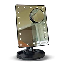 Makeup, Cosmetic, Vanity and Shaving mirror by NAT-PATH with DIMMABLE lighting and additional 10 x Magnifier for close up work. Large number of 22 LED lights, including Batteries (Black)