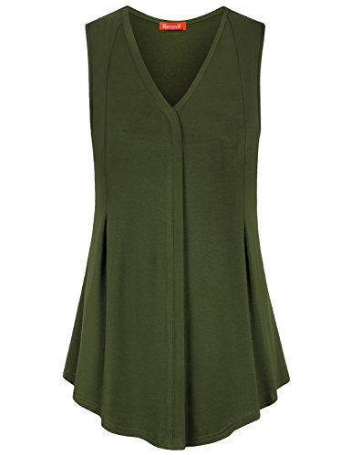 Blevonh Office Shirts for Women Juniors Soft Loose Sleeveless Fashion Knitted V Neck Stretch Summer Tunic Tanks Youth Casual Decorative Ruffled Graceful Solid Color Cute A-Line Top Army Green X-Large