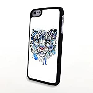 Generic PC Phone Cases Compatible with iPhone 5C Charming Blue Tone Soulful Deep Eyes Tiger Matte Pattern