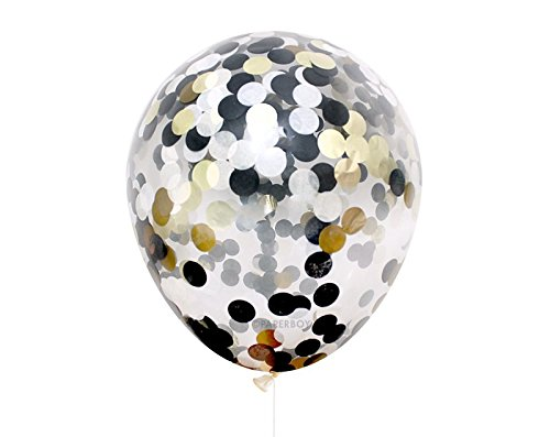 Star Party 12 inches Confetti Balloon 15 Pack,Clear Balloon With Gold Black & White Confetti for Wedding Decorations Party Decorations And Proposal Birthday Graduation