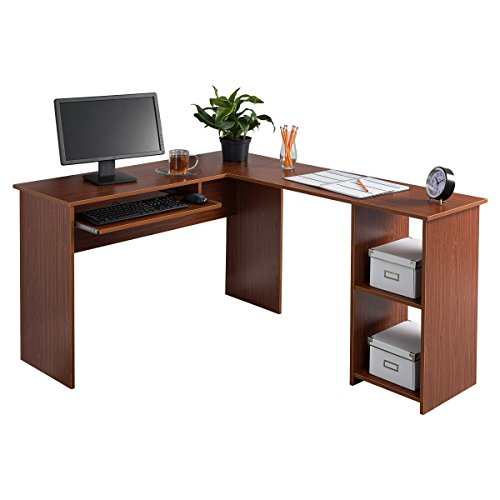 Fineboard FB-LD01-RW L-Shaped Office Corner Desk, 2 Side Shelves, Red Walnut Fineboard