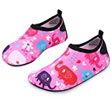 L-RUN Water Shoes for Toddlers Unisex Aqua Shoes for Dance Fitness Pink_red 2-2.5=EU 34-35
