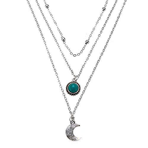 Bracet Layered Necklace Pendant Cubic Zirconia Flower Round Turquoise Moon Tassel Beads Chain Girls Women Jewelry Set