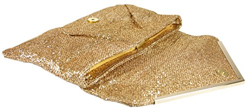 Girly HandBags Giallo Oro Paillettes Pochette Grande Liscio Signore Scintillio Sera Metallico Ballo Studentesco