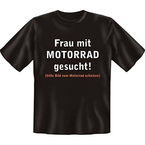 Fun T-shirt Frau mit Motorrad gesucht! Fb schwarz