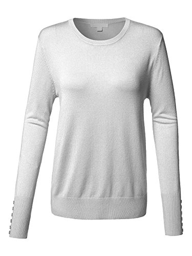 Luna Flower GTEW241 Women's Long Sleeve Crew Neck Knit Pullover Sweater with Buttoned Cufffs Details CHARCOAL (Bowknot Crew Neck Long Sleeve)