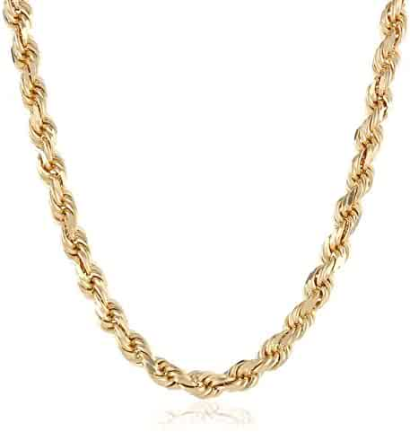 Men's 14k Solid Yellow Gold 4.5mm Wide Diamond-Cut Rope Chain Necklace