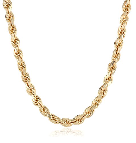 Men's 14k Solid Yellow Gold 4.5mm Wide Diamond-Cut Rope Chain Necklace, 30'' by Amazon Collection