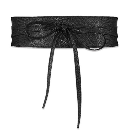 2SUN Women's Soft PU Leather Wrap Around Bow Tie Sash Belts Obi for Dress (Black) Faux Leather Sash Belt