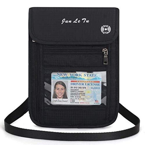 JuanFU RFID Blocking Travel Neck Stash Wallet, Travel Pouch and Passport Holder (Black)