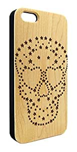 Genuine Maple Wood Organic Skull and Stars Snap-On Cover Hard Case for iPhone 6