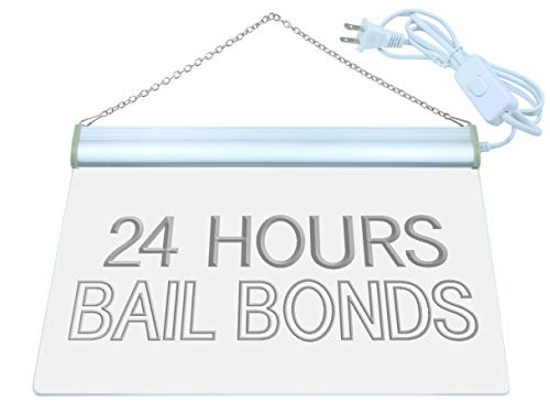 ADV Pro Bail Bonds 24 Hours LED Neon Sign Green 24'' x 16'' st4s64-i461-g by ADV PRO