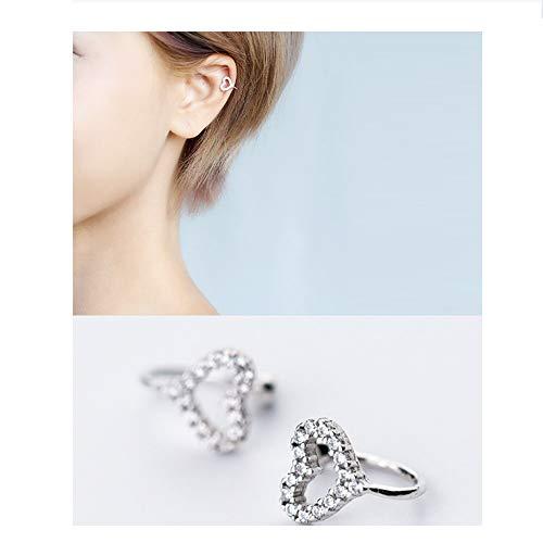 - Ear Cuff, Mariafashion Clip On Earring Sterling Silver Cartilage Non-Piercing Wrap Earring For Women (heart ear cuff)