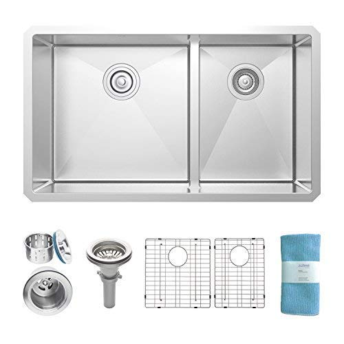 32 Inch Undermount 60/40 Low Divide Single - Double Bowl Hybrid Stainless Steel Kitchen Sink