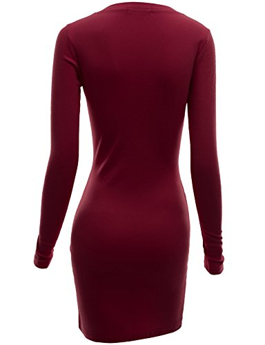 Doublju Womens Active Knit Henley Neck Mini Dress WINE,XL