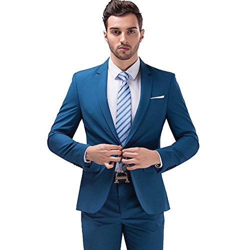 Cheap Suit (Mens 2-Piece Dress Suits Set Silm Fit One Button Suit for Men Blazer Jacket & Trousers, Blue Suit Size 36)