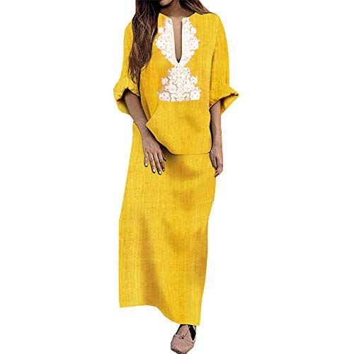 DEATU Womens Maxi Dresses Hot Sale,Ladies Chic V-Neck Long Sleeve Cotton Linen Loose Casual Long Dress with -