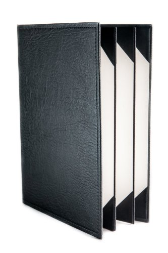 Menu Covers Made In Italian Faux Leather (10-Pack)- 8.5'' X 11'' - 6 Views - Black by Menu Cover