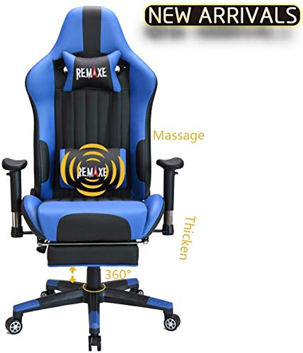 Large Size Gaming Chair High-Back PC Racing Chair Headrest Lumbar Massager Cushion Ergonomic Swivel PC Racing Chair with Retractable Footrest,PU Leather Executive Home Computer Chair(Black/Blue)