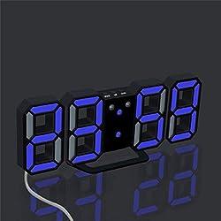 Naladoo Modern Digital LED Table Desk Night Wall Clock Alarm Watch 24 or 12 Hour Display (B)