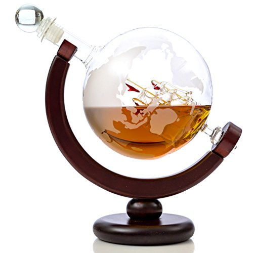 Whiskey Globe Decanter Set with Etched World Map and Antique Ship – Wooden Base and Safe Package – Perfect Gift Set for Liquor, Scotch, Bourbon, Vodka and Wine ()