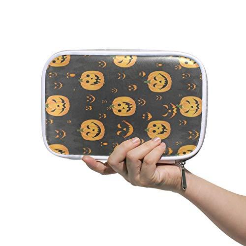 (Halloween Pumpkin Face Big Pencil Case Multifunction Leather Makeup Brushes Bag Holder Zip)
