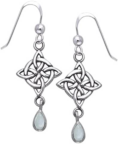 Sterling Silver Four-Point Celtic Knot North Star Earrings with Rainbow Moonstone Teardrops